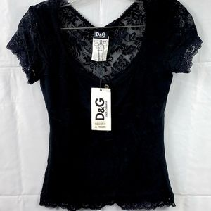 D&G Black Button up Top with Mesh Back. Size Small